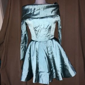 Carolyne Roehm $3200RUNWAY Blue SILK Audrey dress6